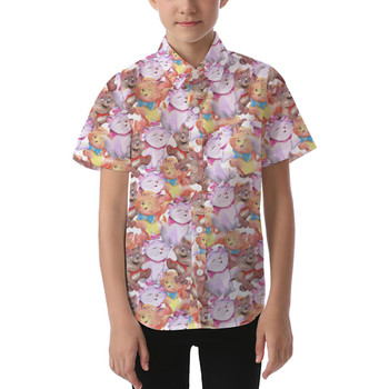 Kids' Button Down Short Sleeve Shirt - The Aristocats in Watercolor