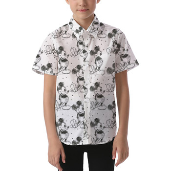 Kids' Button Down Short Sleeve Shirt - Sketch of Mickey Mouse