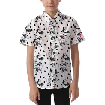 Kids' Button Down Short Sleeve Shirt - Sketch of Minnie Mouse