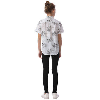 Kids' Button Down Short Sleeve Shirt - Sketch of Steamboat Mickey