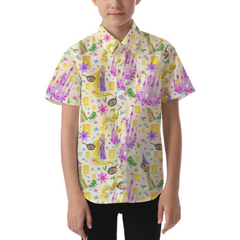 Kids' Button Down Short Sleeve Shirt - Watercolor Tangled