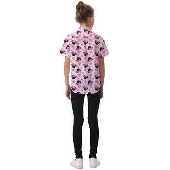 Kids' Button Down Short Sleeve Shirt - Watercolor Minnie Mouse In Pink
