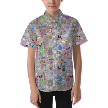 Kids' Button Down Short Sleeve Shirt - The Epcot Experience