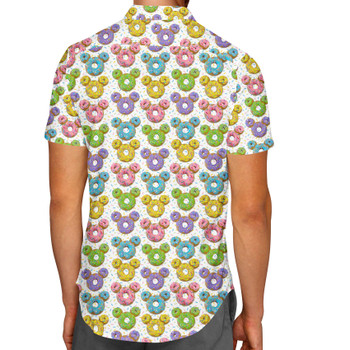 **LIMITED RELEASE** Men's Button Down Short Sleeve Shirt - Satisfactual Sign Co's Delightful Donuts
