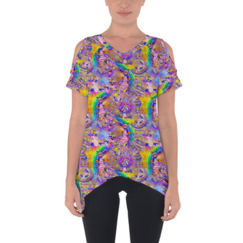 Cold Shoulder Tunic Top - Figment Watercolor Rainbow