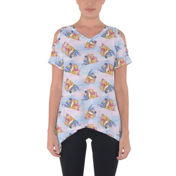 Cold Shoulder Tunic Top - Watercolor Best Pooh Friends