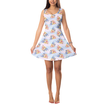 Sleeveless Flared Dress - Watercolor Best Pooh Friends