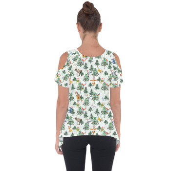 Cold Shoulder Tunic Top - Christmas Disney Forest