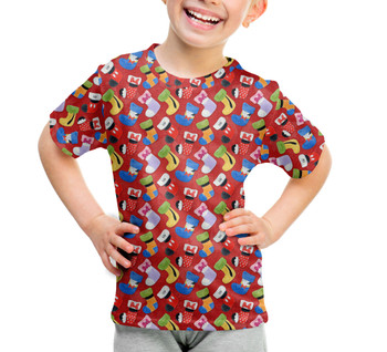 Youth Cotton Blend T-Shirt - Mickey & Friends Christmas Stockings