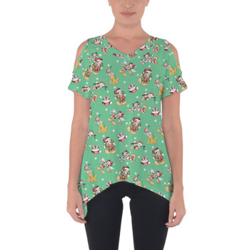 Cold Shoulder Tunic Top - Merry Mickey Christmas