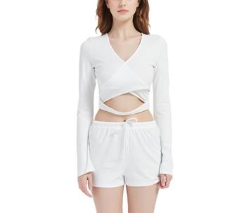 Velvet Wrap Top and Shorts Set