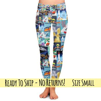 Yoga Leggings - Full Length - S- Tomorrowland Disney Parks Posters  - READY TO SHIP