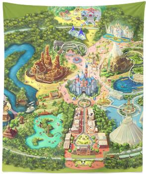Tapestry - Disneyland Colorful Map - Medium Tapestry (50x65)