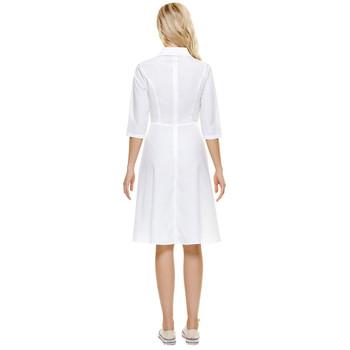Retro Collared Knee Length Dress