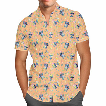 Men's Button Down Short Sleeve Shirt WITH POCKET - 5XL - Tropical Stitch - READY TO SHIP