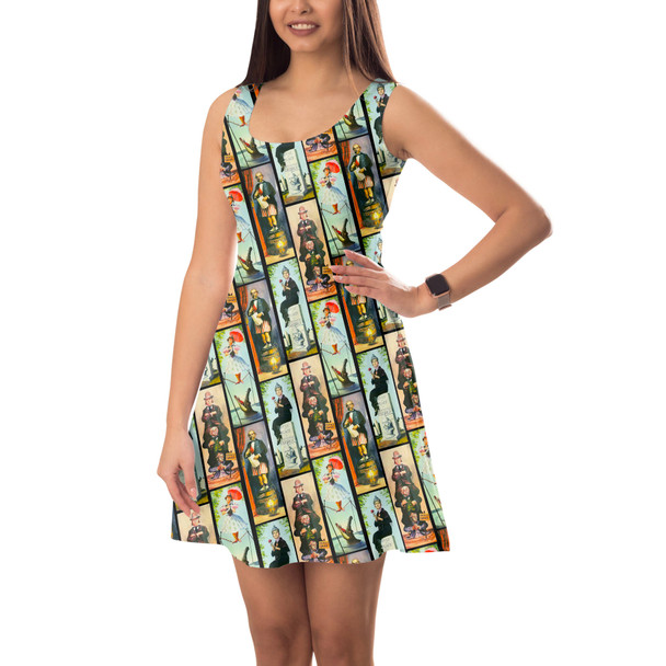 Sleeveless Flared Dress - Haunted Mansion Stretch Paintings