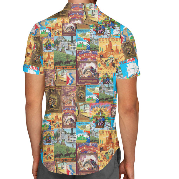 Men's Button Down Short Sleeve Shirt - Frontierland Vintage Attraction Posters