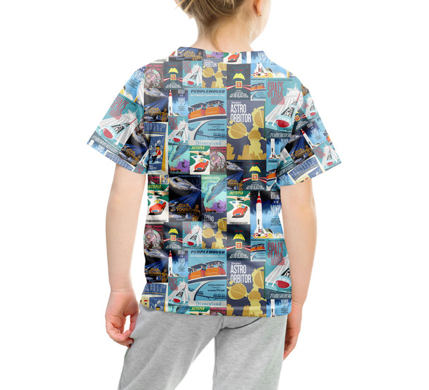 Youth Cotton Blend T-Shirt - Tomorrowland Vintage Attraction Posters