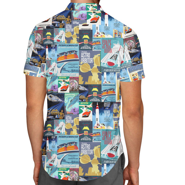 Men's Button Down Short Sleeve Shirt - Tomorrowland Vintage Attraction Posters