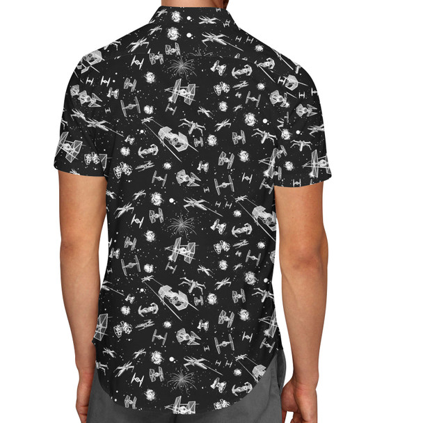 Men's Button Down Short Sleeve Shirt - Space Ship Battle Star Wars Inspired