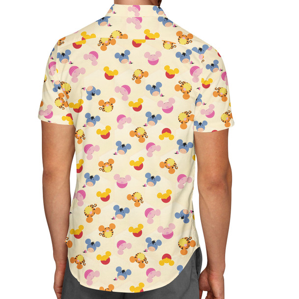 Men's Button Down Short Sleeve Shirt - Pooh & Friends Mouse Ears