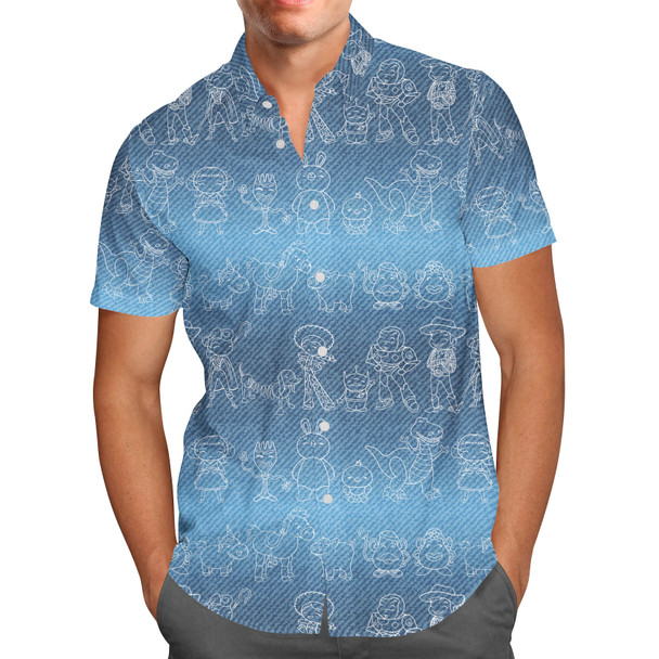 Men's Button Down Short Sleeve Shirt - Toy Story Line Drawings