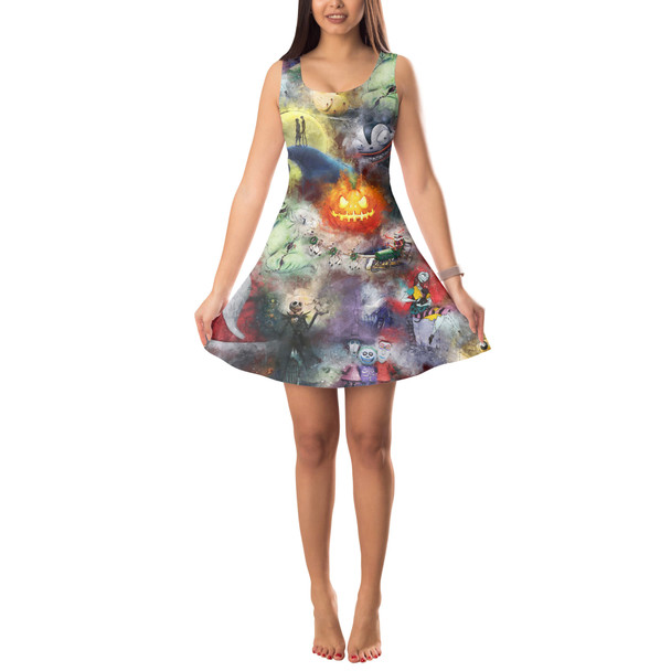 Sleeveless Flared Dress - Watercolor Nightmare Before Christmas
