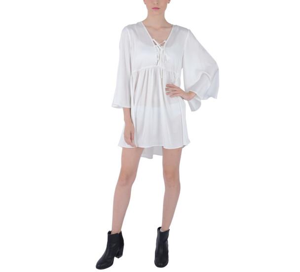 Boho Flared Sleeve Mini Dress