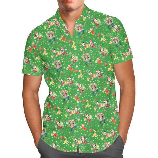 Men's Button Down Short Sleeve Shirt - Mickey & Friends Celebrate Christmas