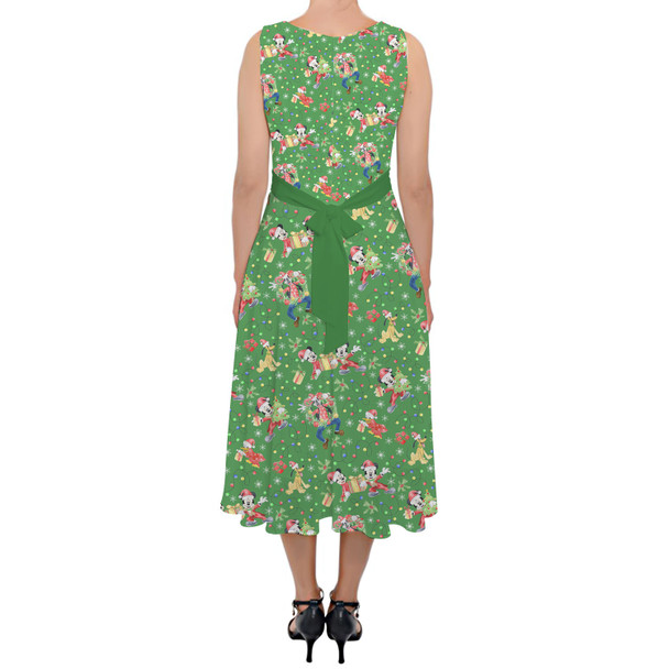 Belted Chiffon Midi Dress - Mickey & Friends Celebrate Christmas