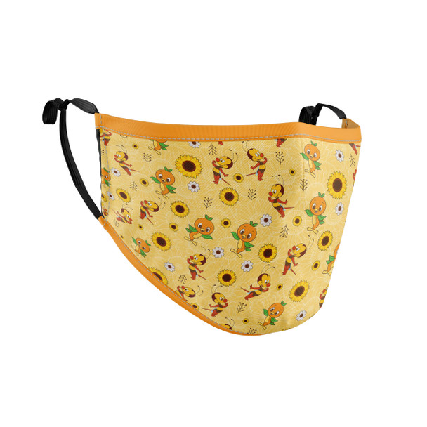 Fitted Face Mask with 50 filters - Spike The Bee and Orange Bird