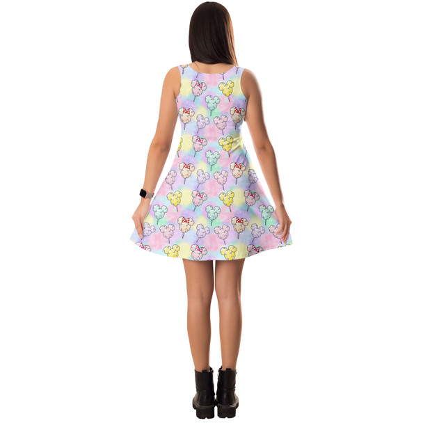 Sleeveless Flared Dress - Cotton Candy Mouse Ears