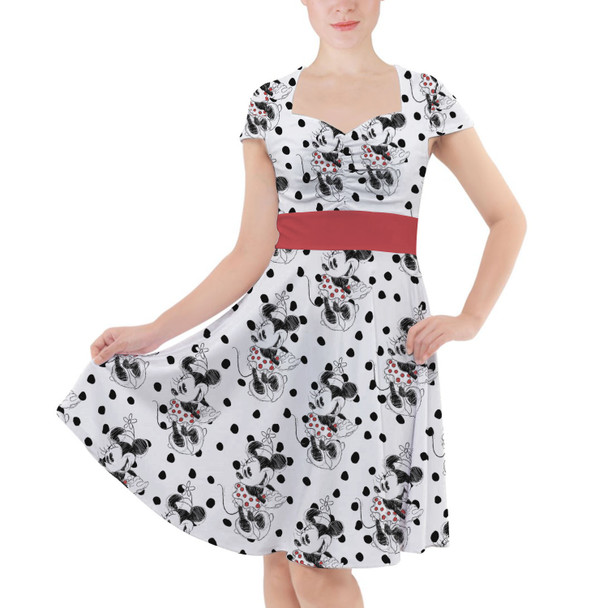 Sweetheart Midi Dress - Sketch of Minnie Mouse
