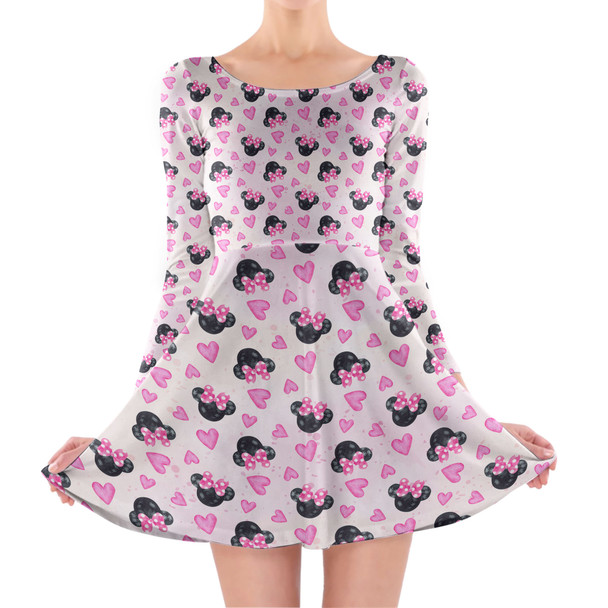 Longsleeve Skater Dress - Watercolor Minnie Mouse In Pink
