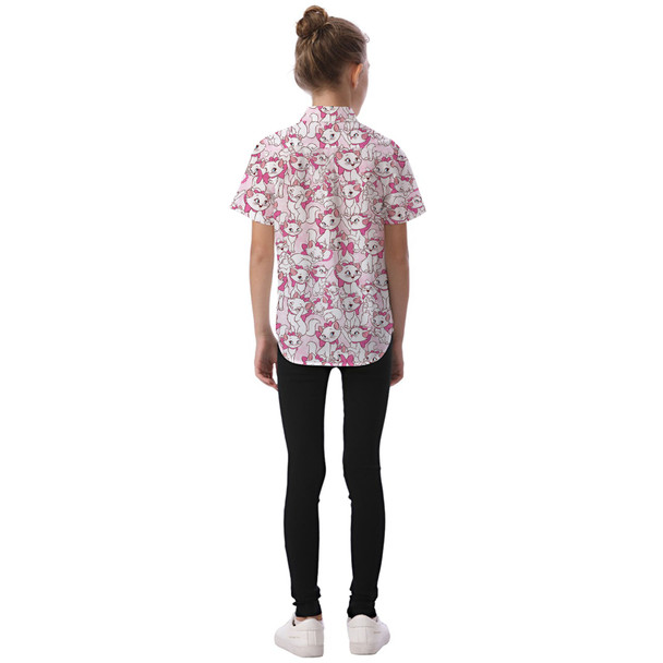 Kids' Button Down Short Sleeve Shirt - Marie with her Pink Bow