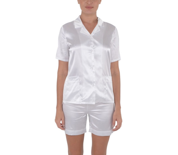 Satin Short Sleeve Pajamas Set