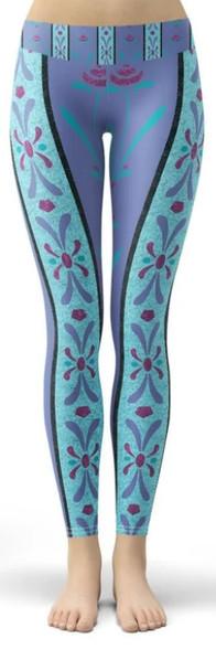 Yoga Leggings - Full Length, Low Waist - M - Scandinavian Frozen Elsa Inspired  - READY TO SHIP