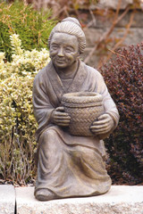 Sitting Asian Woman with Basket 19 inch