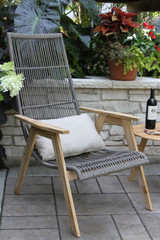 Patio Seating - Teak and Resin Wicker Basket Lounger Chair With Cushion