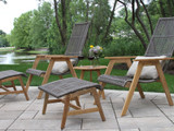 Patio Seating - Teak and Resin Wicker Basket Lounger Ottoman