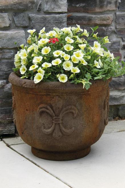 Fleur De Lis Planter Round 19 inch