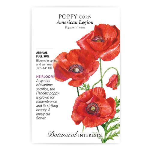 American Legion Corn Poppy Seeds Heirloom