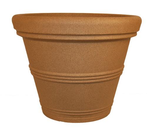 Tusco Rolled Rim Pot Sandstone Plastic - 13.5 inch