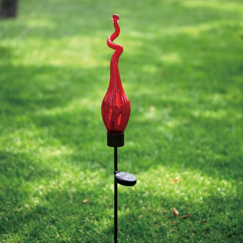 Solar Viz Glass Twist Pod Stake Red - 44 inch