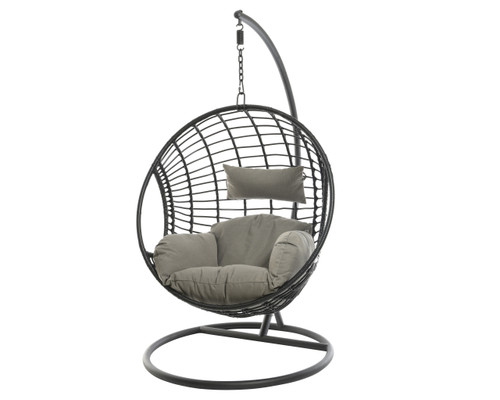 Patio Seating - Hanging Chair London Black With Grey Cushion - 72 inch