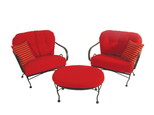 Patio Seating - Brantley 3Pc Seating Group With Red Sunbrella Cushions