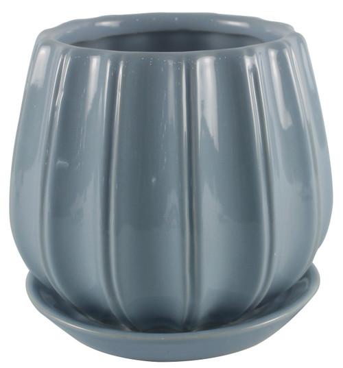 Glazed Ceramic Contour Planter Lake - 6 inch