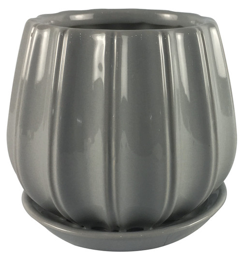 Glazed Ceramic Contour Planter Grey - 6 inch