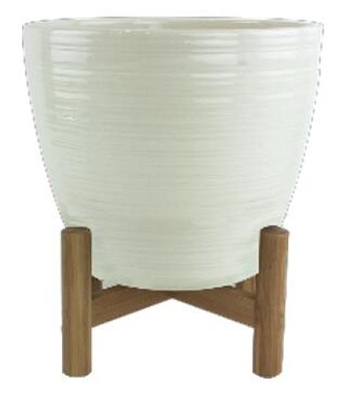 Glazed Ceramic Cammie Planter with Stand - 7 inch