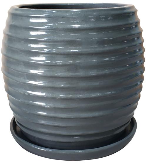 Glazed Ceramic Cora Planter Steel - 14 inch